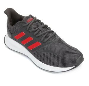 ( frete grátis ) Adidas Run Falcon - Cinza e vermelho