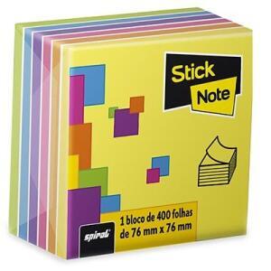 Bloco autoadesivo 76x76 neon 7 cores c/400fls Stick Note PT 1 UN - R$18