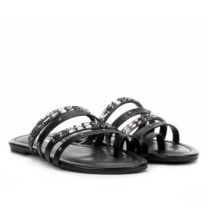 Rasteira Look Fashion Multi Tiras e Pedras - Preto | R$24
