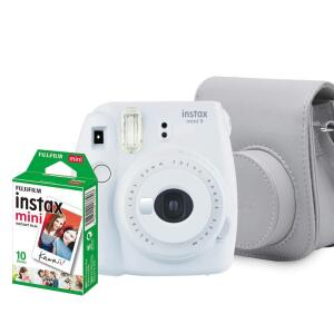 [Prime] Kit Câmera Instantânea Fujifilm Instax Mini 9, Branco Gelo R$ 299