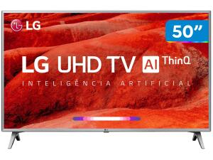 "Smart TV 4K LED 50"" LG 50UM7510PSB Wi-Fi HDR - Inteligência Artificial 4 HDMI 2 USB - R$1899"