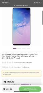 Galaxy S10+ em 12x s/ juros