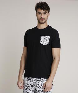 Camiseta Masculina Triya com Bolso Estampado - preta | R$30