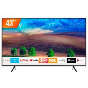 """Smart TV LED 43"""" Ultra HD 4K Samsung RU7100 3 HDMI 2 USB Wi-Fi R$ 1500"""