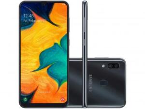 "Samsung Galaxy A30 64GB Preto 4G - 4GB RAM 6,4"" Câm. Dupla + Câm. Selfie 16MP"