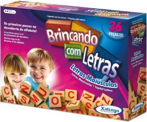 Brinquedo Pedagógico Madeira Brincando com As Letras 36 Peças Xalingo R$ 17