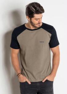 Camiseta Preta e Marrom com Cava Raglan R$25