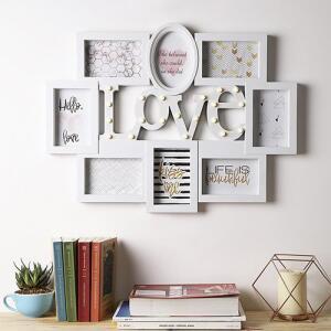 Porta-Retrato 7 fotos - com LED Love Branco