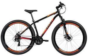 Bicicleta Caloi Quadro de Alumínio Vulcan Aro 29, Câmbio Traseiro Shimano, Freio a Disco Mecânico, Preto