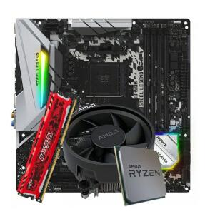 Kit Upgrade Placa Mãe ASRock B450M Steel Legend + Processador AMD Ryzen 5 3500 3.6GHz + Memória DDR4 8GB 2666MHz
