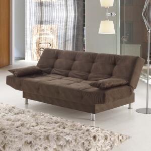 Sofá-cama Glamour Viero Marrom Suede | R$629