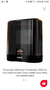 Processador AMD Ryzen Threadripper 3960X 24-Core 3.8GHz (4.5GHz Turbo) 140MB Cache sTRX4 100-100000010WOF