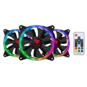 Kit Ventoinha Pichau Gaming Feather Dual Ring RGB 3x120mm c/ Controle