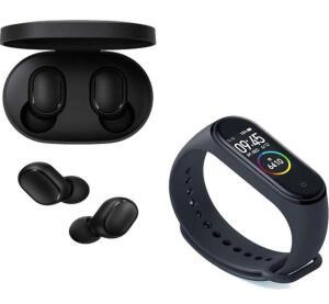 Kit Fone de Ouvido Xiaomi Redmi Airdots Bluetooth + Smartwatch Xiaomi Mi Band 4 Preto