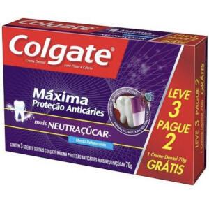 Creme Dental Colgate Máxima Proteção Anticáries Neutraçúcar 70g Leve 3 Pague 2