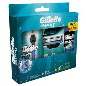 Kit Aparelho de Barbear Gillette Mach3 Acqua-Grip + 3 Cargas + Gel de Barbear Complete Defense 72ml