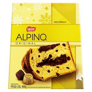 Panetone com Gotas e Recheio Chocolate Nestlé Alpino Caixa 400g (50%OFF)