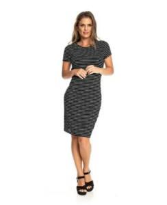 Vestido Rovitex Premium Stripe Rib Feminino - Preto