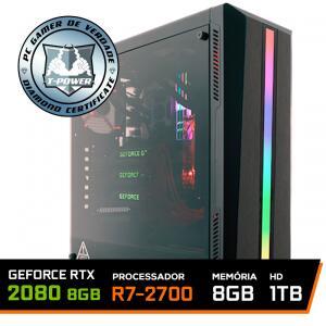 Pc Gamer T-Power Edition Amd Ryzen 7 2700 / Geforce RTX 2080 8GB / DDR4 8GB / Hd 1tb / 750W | R$5.289