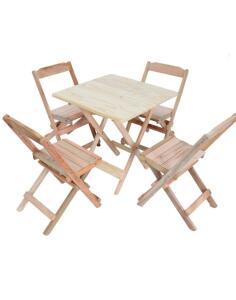 [AME por 147,87] Conj. 4 Cadeiras E 1 Mesa Dobrável 60 X 60 - Madeira Maciça | R$159
