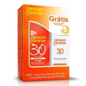 Kit Protetor Solar Cenoura & Bronze FPS 30 200ml + Protetor Solar Facial FPS 30 50g   R$10