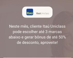 Cliente Itaú Uniclass: 50% de desconto nas marcas selecionadas