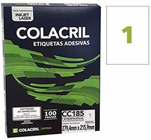 Etiqueta Adesiva Carta, 279.4 mm x 215.9 mm, 100 Folhas, Colacril, CC185