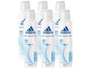 6 Desodorantes Aerosol Antitranspirante Feminino - Adidas Fresh Cool Care 150ml