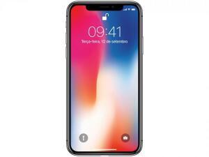 "iPhone X Apple 256GB Cinza Espacial 4G Tela 5,8"" - Retina Câm 12MP + Selfie 7MP iOS 11 Proc. Chip A11"