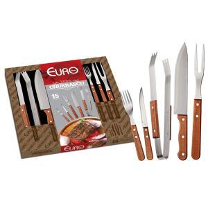 Kit para Churrasco em Madeira Euro 15 Peças - BBQW-15 | R$64