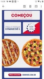 Semana toda 2x1 pizzas da Domino's