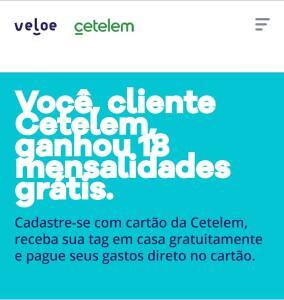 Veloe - 18 mensalidades grátis para clientes Cetelem