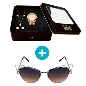 Relógio Dumont Feminino Analógico, Caixa 3,8cm, Rosé + Brinde Semi Joia - Modelo Du2035Fmn/K4C + Óculos de Sol, UV, metal, tartaruga