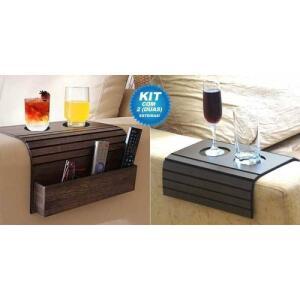 Kit Bandeja Porta Copo para Sofá com 1 Porta Controle e 1 Tradicional | R$22