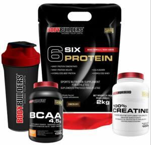 Kit 6 six protein 2kg + BCAA + Creatina R$80