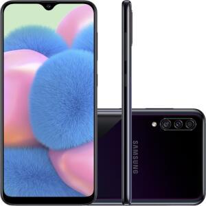 "Galaxy A30s 64GB Dual Chip Android 9.0 Tela 6.4"" Octa-Core 4G Câmera Tripla 25MP + 5MP + 8MP - Preto | R$900"