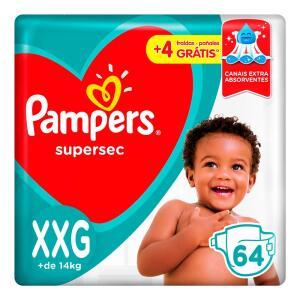 Fralda Pampers Supersec M/Xg/XXG por R$ 51