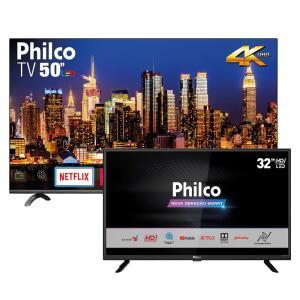 "Smart TV LED 50"" UHD 4K Philco PTV50Q20SNBL+ Smart TV LED 32"" FHD Philco PTV32G52S"