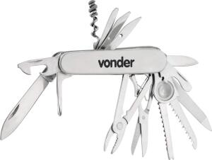 [Prime] Canivete Multiuso Vonder, em Aço Inox, 14 Lâminas, R$ 50