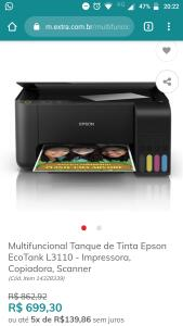 Multifuncional Tanque de Tinta Epson EcoTank L3110