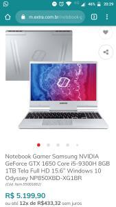 "Notebook Gamer Samsung NVIDIA GeForce GTX 1650 Core i5-9300H 8GB 1TB Tela Full HD 15.6"" Windows 10 Odyssey NP850XBD-XG1BR"