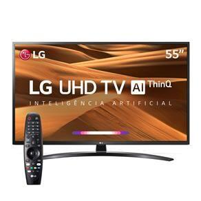 "Smart TV LED 55"" UHD 4K LG 55UM7470PSA ThinQ AI com IoT, HDR Ativo, WebOS 4.5, DTS Virtual X, Controle Smart Magic e Bluetooth"