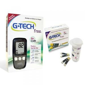 Kit Monitor De Glicemia + 50 Tiras Reagentes Free 1 G-tech-Gtech