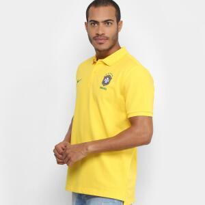 Camisa Polo Seleção Brasil 2018 Nike Masculina - Amarelo