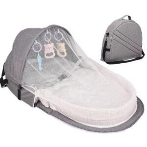 Ninho bolsa cama de bebê com mosquiteiro viagem portátil dobrável cinza R$ 186