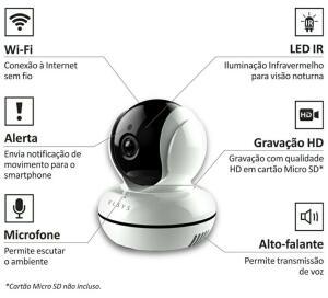 Câmera de segurança Wi-fi HD com visão noturna Elsys