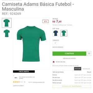 Camiseta Adams Básica Futebol - Masculina - Verde | R$7