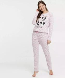 Pijama Feminino Listrado Estampa Mickey Disney | R$54