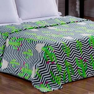 Cobertor Manta Casal Microfibra Miss Cacto