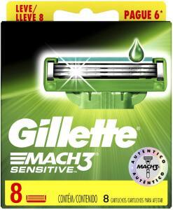 (PRIME) Carga Para Aparelho de Barbear Gillette Mach3 Sensitive Leve 8 Pague 6